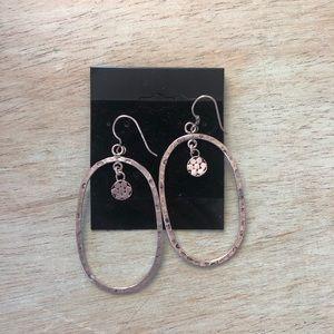 Silver statement oval earrings